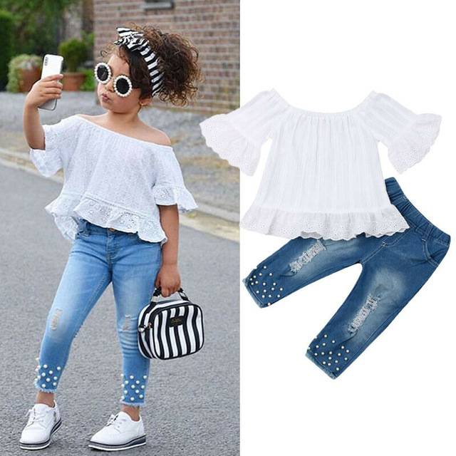 Summer Kid Baby Girl Stripe Tops T-shirt+Denim Short Pants Outfits Clothes Set