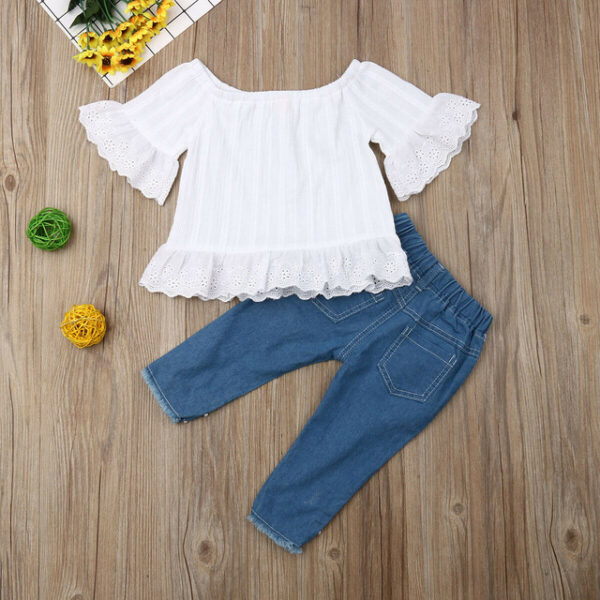 Toddler Baby Girls Warm Clothes Set Cartoon Tops Denim Pant Winter Fall Outfit