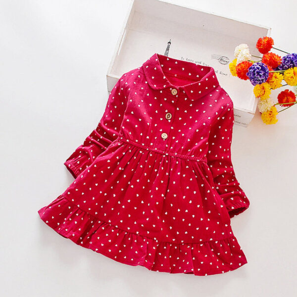 2 7t Girls Clothes Autumn New Children Clohting Dot Print Fashion Kids Princess Dress Baby Girls Dress Shoppershook