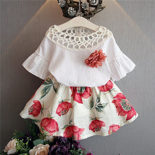 US Toddle Baby Girls Flare Sleeve Party Wedding Dress Skirt Clothes With Flower