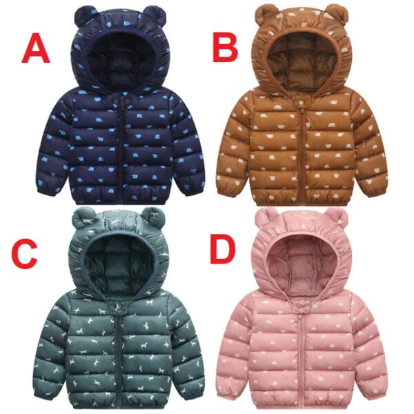 Toddler Baby Girls Kids Winter Warm Cotton Bear Hooded Coat Jacket Outwear