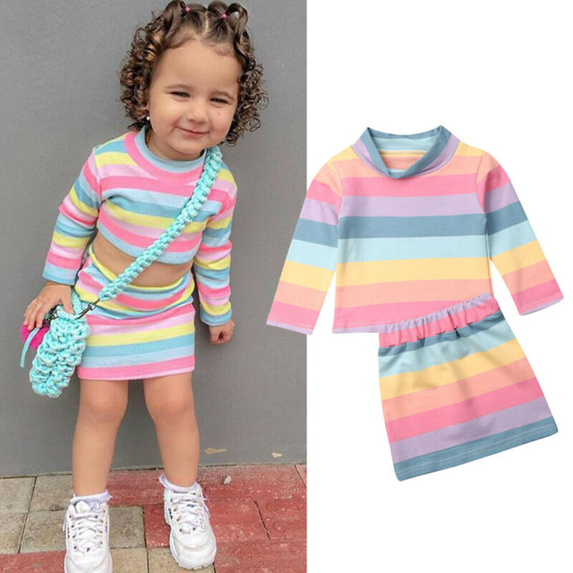Baby Girl Rainbow Shirt Dress Long Sleeve Striped Dress