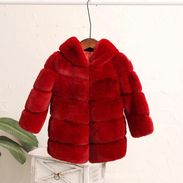Baby Girls Fur Winter Warm Coat Jacket with Cute Bag Girls Thick Warm Clothes