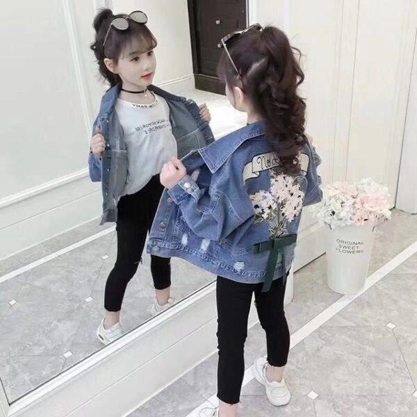 Fashion Girls Coats Spring Autumn Long Sleeve Outerwear Children Dress Girls Kids Casual Denim Coats