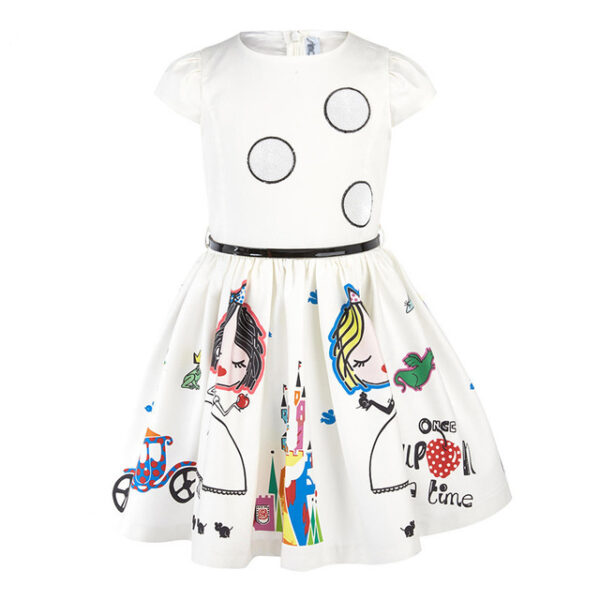 Girls Summer Dress Kids Clothes Baby Girl Dress with Sashes Robe Fille