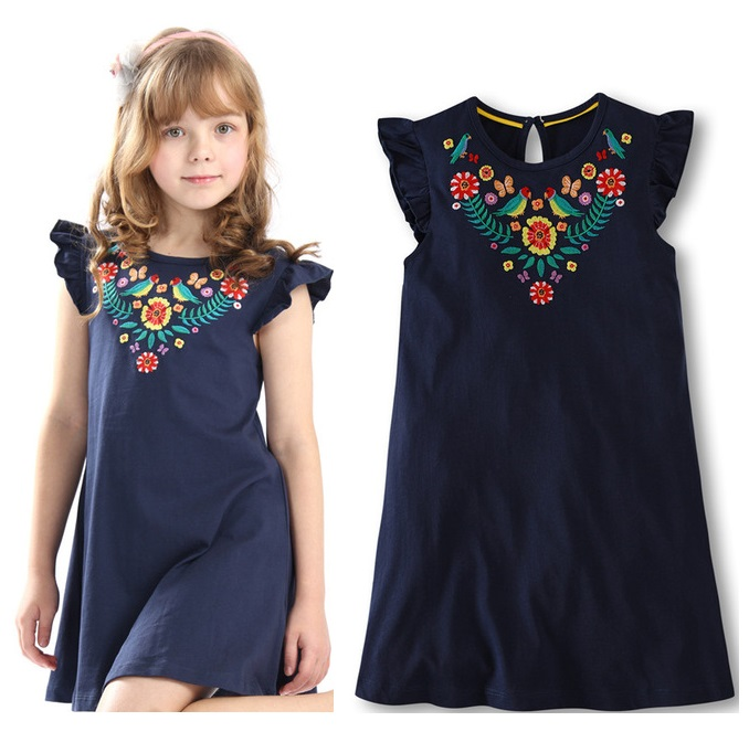 Baby Girl Autumn Cotton Long Sleeve Dresses Embroidered Cartoon Dress Clothes Outfits