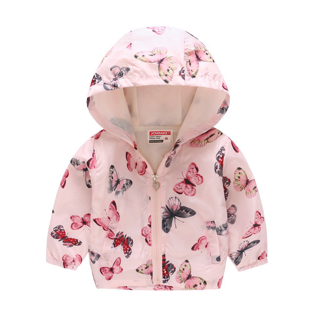 Toddler Infant Kids Baby Girls Hooded Zip Windbreaker Tops Rain Jackets Coat