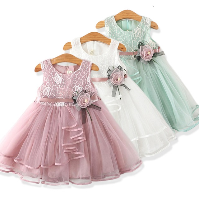 Little Baby Flower Cute Princess Lace Mesh Solid Kids Tutu Dress for Girls New