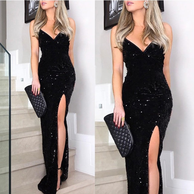 S-XL Sexy V neck club party dress Maxi black sequined vestidos